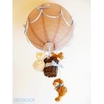 lampe enfant bébé montgolfière suspension lustre luminaire ours et oursonne bleu et marron taupe garçon