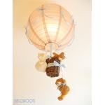 lampe enfant bébé montgolfière suspension lustre luminaire ours et oursonne bleu et marron taupe garçon décoration 2