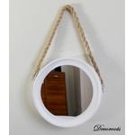 miroir rond blanc bois corde thème bord de mer 2
