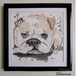 cadre déco bulldog chien aquarelle contemporain design décoration