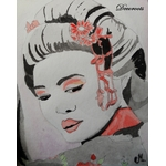 cadre déco aquarelle pinture geisha japon portrait femme noir rouge décoration