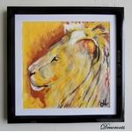 cadre déco aquarelle lion jungle safari ethnique