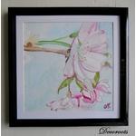 cadre déco aquarelle cerisier en fleurs japonisant