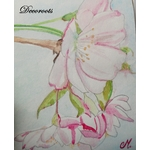 cadre déco aquarelle cerisier en fleurs japonisant décoration