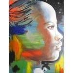 tableau ethnique afrique femme africaine multicolore noir blanc