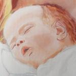 tableau portrait peint à la main d'après photo bébé cadeau naissance baptême