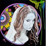 tableau art artiste peint main vierge mandala noir et blanc visage femme multicolore