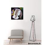 tableau art artiste contemporain femme multicolore noir et blanc vierge moderne