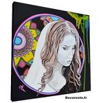 tableau art artiste contemporain multicolore noir et blanc visage femme