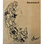 sac cuir beige artiste art peint à la main femme papillon noir graphique tote bag 2