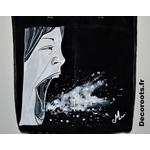 sac cuir femme noir tote bag peint à la main visage tache peinture art artiste 2
