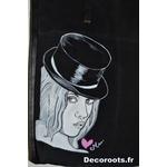 sac cuir femme peint à la main art artiste visage chapeau melon coeur tote bag 2