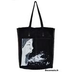 sac cuir femme noir tote bag peint à la main visage tache peinture art artiste 22