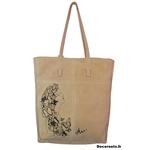 sac cuir beige artiste art peint à la main femme papillon noir graphique tote bag 22