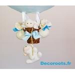 lampe montgolfière enfant bébé nuage mouton ciel turquoise lustre