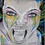tableau art contemporain urbain visage femme noir et blanc multicolore peinture artiste