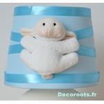 lampe chevet enfant bébé mouton bleu turquoise pastel blanc zoom