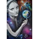 tableau art artiste contemporain femme noir et blanc espace terre étoile cosmos multicolore