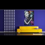 tableau art artiste contemporain femme noir et blanc espace terre étoile cosmos multicolore décoration