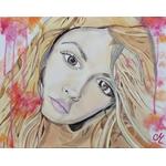tableau art contemporain artiste femme multicolore rose orange pastel
