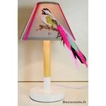 lampe chevet oiseau mesange design multicolore rose fuschia fille