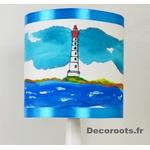 lampe enfant chevet phare mer marin thème bleu turquoise zoom