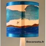 lampe enfant chevet phare mer marin thème bleu turquoise signé