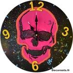 horloge design crane fluo rose fuchsia jaune orange tache peinture