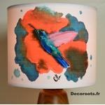 lampe chevet oiseau colibri peint à la main effet aquarelle corail turquoise décoration zoom