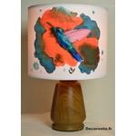 lampe chevet oiseau colibri peint à la main effet aquarelle corail turquoise décoration