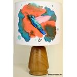 lampe chevet oiseau colibri peint à la main effet aquarelle corail turquoise