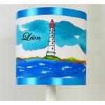 lampe enfant chevet phare mer marin thème bleu turquoise personnalisable