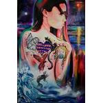 tableau art contemporain femme lune mer