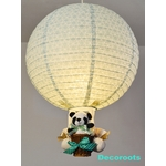 lampe montgolfière enfant bébé garçon panda bleu turquoise pastel décoration