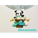 lampe montgolfière enfant bébé garçon panda bleu turquoise pastel zoom