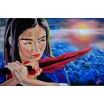 tableau art contemporain femme samourai sabre plume coucher de soleil