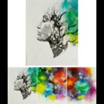 tableau art contemporain triptyque femme nature tache couleur nuage multicolore zen 2