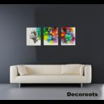 tableau art contemporain triptyque femme nature tache couleur nuage multicolore zen
