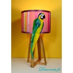 lampe design perroquet bois plume multicolore exotique