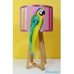 lampe design perroquet bois plume multicolore exotique 1