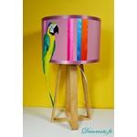 lampe design perroquet bois plume multicolore exotique 2
