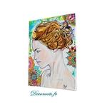 tableau art decoration artiste femme fleur tache peinture multicolore 2