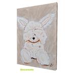 tableau enfant bébé lapin peluche taupe beige décoration