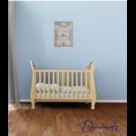 tableau enfant bébé lapin peluche taupe beige bleu