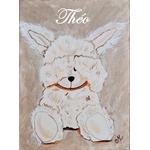 tableau enfant bébé lapin peluche taupe beige personnalisé prénom