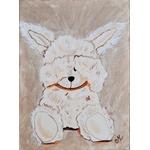 tableau enfant bébé lapin peluche taupe beige