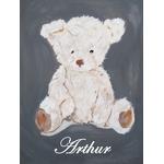 tableau enfant bébé ours mixte gris beige personnalisé