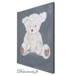 tableau enfant bébé ours mixte gris beige décoration