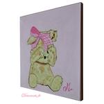 tableau enfant bébé ours rose peint main decoration beige 2