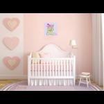 tableau enfant bébé ours rose peint main decoration beige 3